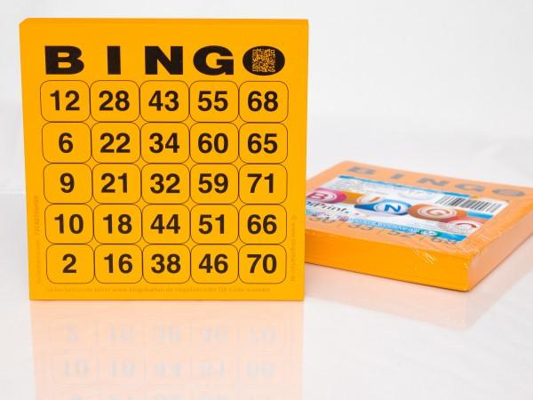 Bingokarten für Senioren 25 Zahlen aus 75 in orange