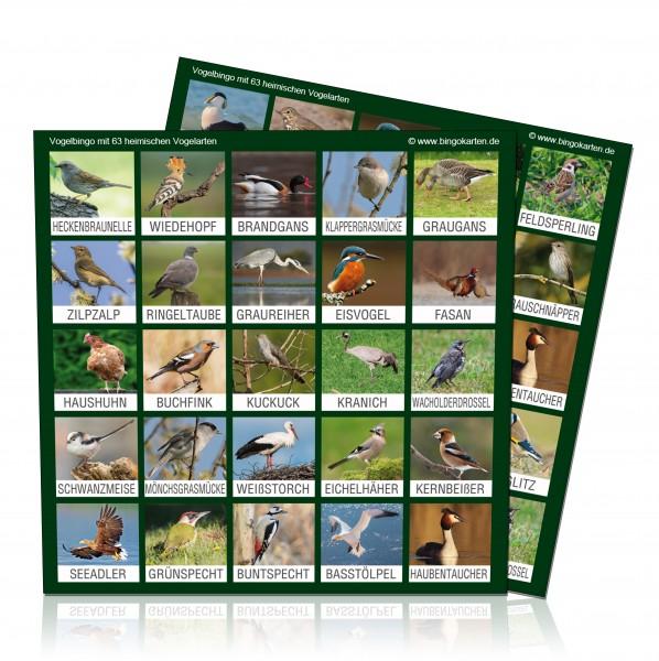 Vogel-Bingo Erweiterungs- oder Ersatzkarten