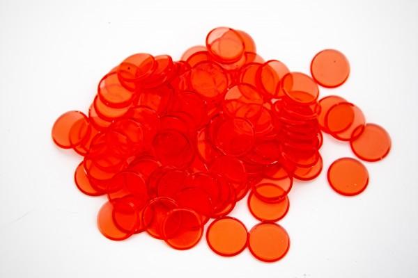 100 Bingo Chips halbtransparent und 19 mm Durchmesser