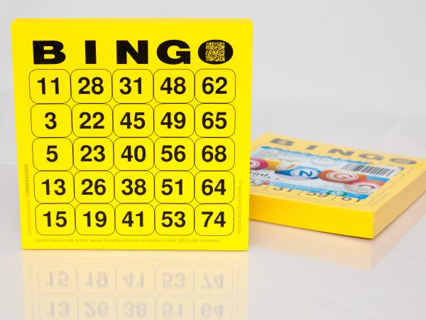 Bingokarten für Senioren 25 Zahlen aus 75 in gelb