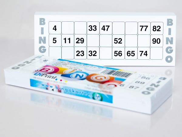 Bingokarten für Senioren 15 Zahlen aus 90 in weiß