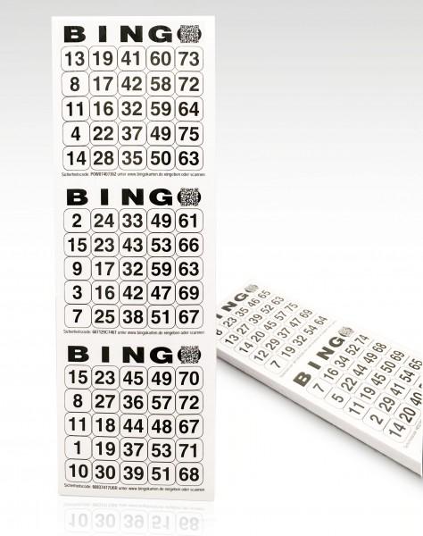 Bingolose mit drei senkrechten Bingofeldern 25 Zahlen aus 75