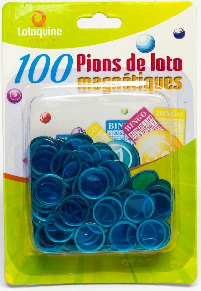 100 Bingo Chips mit Metallrand für Magnetstäbe halbtransparent 17 mm Durchmesser
