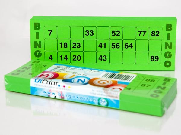 Bingokarten für Senioren 15 Zahlen aus 90 in grün