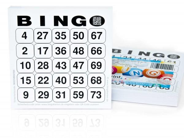 Bingokarten für Senioren 25 Zahlen aus 75 in weiß