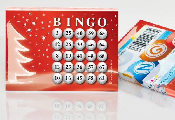 Bingokarten DIN A6 mit Weihnachtsmotiv 25 Zahlen aus 75