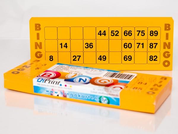 Bingokarten für Senioren 15 Zahlen aus 90 in orange