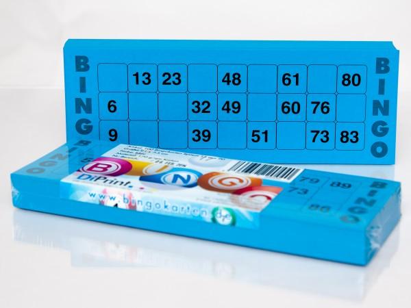 Bingokarten für Senioren 15 Zahlen aus 90 in blau