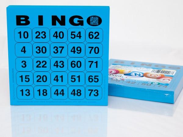 Bingokarten für Senioren 25 Zahlen aus 75 in blau