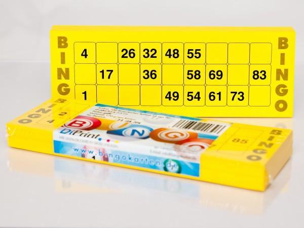 Bingokarten für Senioren 15 Zahlen aus 90 in gelb