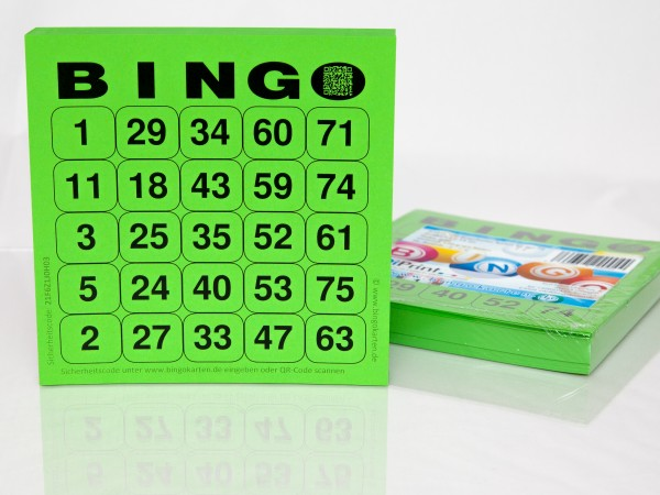 Bingokarten für Senioren 25 Zahlen aus 75 in grün