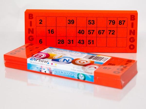 Bingokarten für Senioren 15 Zahlen aus 90 in rot