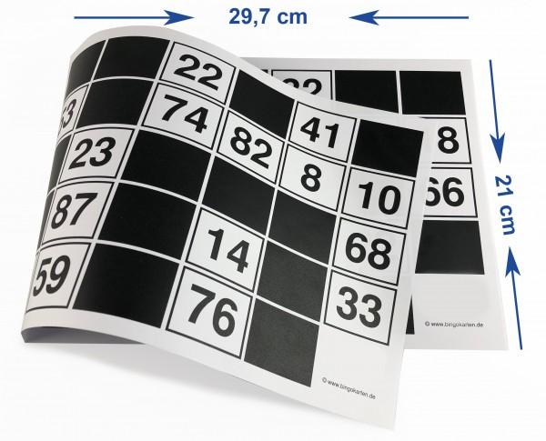 DIN A4 Bingoblöcke 15 aus 90 für Sehbehinderte oder Senioren