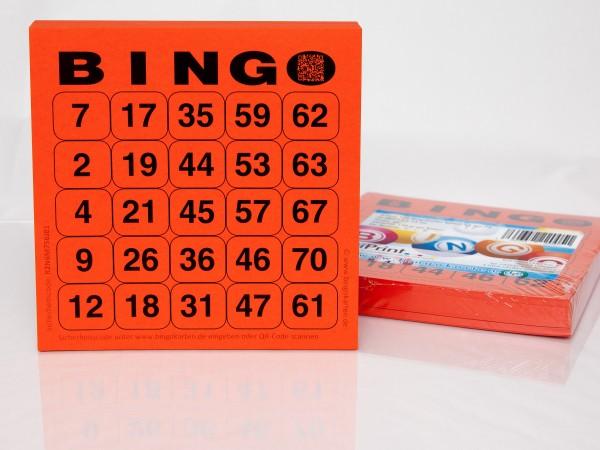 Bingokarten für Senioren 25 Zahlen aus 75 in rot
