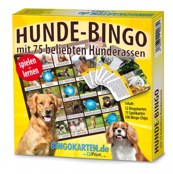 Hunde Bingo mit 75 beliebten Hunderassen für die Familie